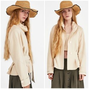 NEW Zara Pleated Jacket with Gathered Detail - L